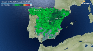 DANA: Acumulados de lluvia previstos este miércoles y jueves