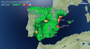 Las cantidades de lluvia que caerán en las próximas horas