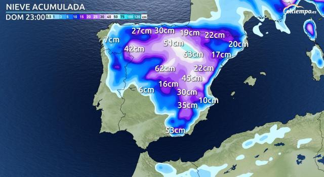 Última actualización de los acumulados de nieve que se registrarán en los próximos días