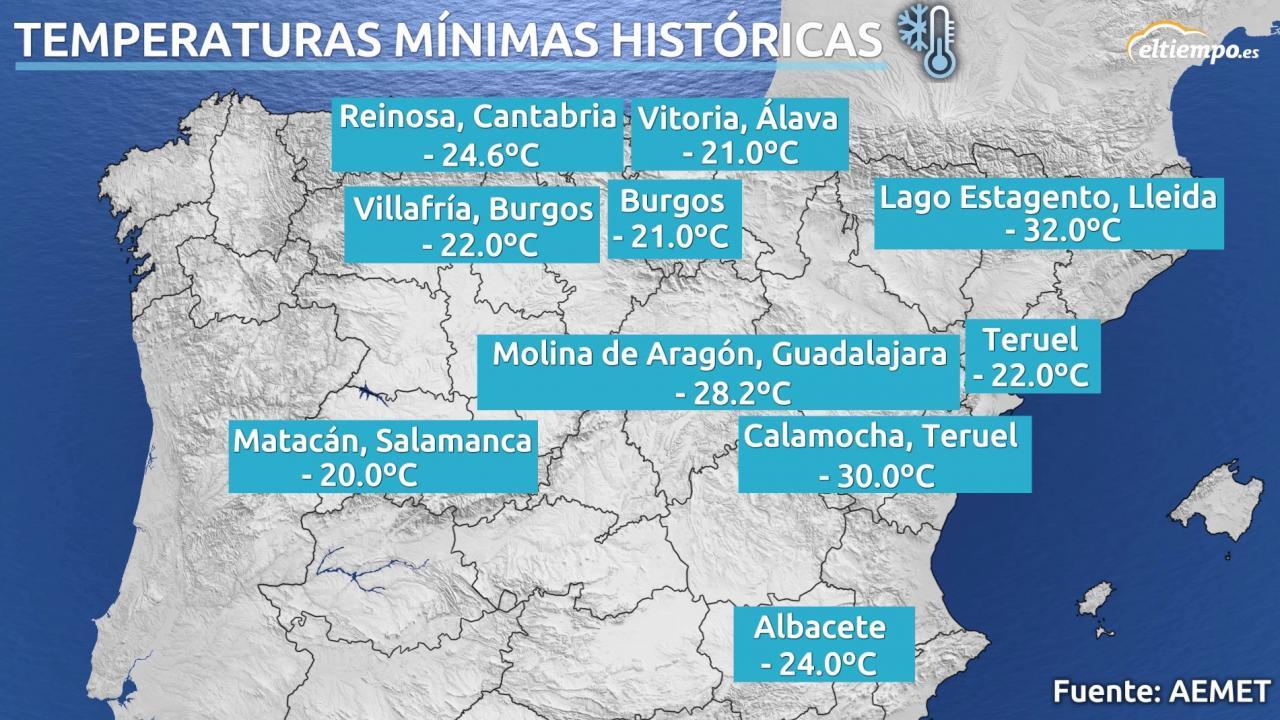 Los Récord De Temperaturas Mínimas Registrados En España