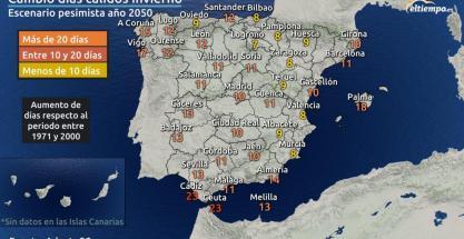 Inviernos de 2050 con más número de días cálidos
