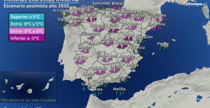 Menos días de heladas y de frío extremo en los inviernos de 2050